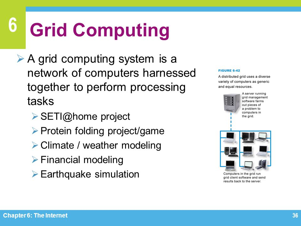 6 Grid Computing A grid computing system is a network of computers harnessed together to perform processing tasks SETI@home project Protein folding project/game Climate / weather modeling Financial modeling Earthquake simulation Chapter 6: The Internet36