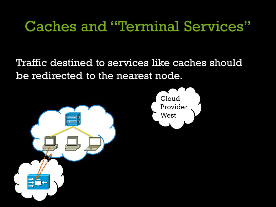 Caches and Terminal Services Traffic destined to services like caches should be redirected to the nearest node. Cloud Provider West