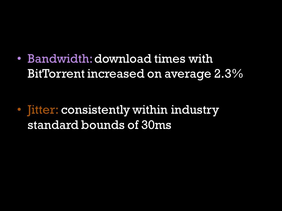 Bandwidth: download times with BitTorrent increased on average 2.3% Jitter: consistently within industry standard bounds of 30ms