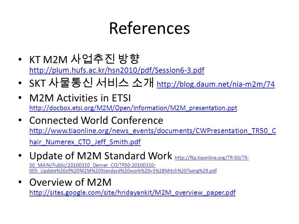 References KT M2M http://plum.hufs.ac.kr/hsn2010/pdf/Session6-3.pdf http://plum.hufs.ac.kr/hsn2010/pdf/Session6-3.pdf SKT http://blog.daum.net/nia-m2m