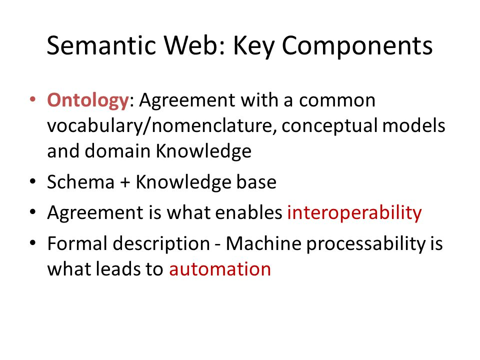 Semantic Web: Key Components Ontology: Agreement with a common vocabulary/nomenclature, conceptual models and domain Knowledge Schema + Knowledge base