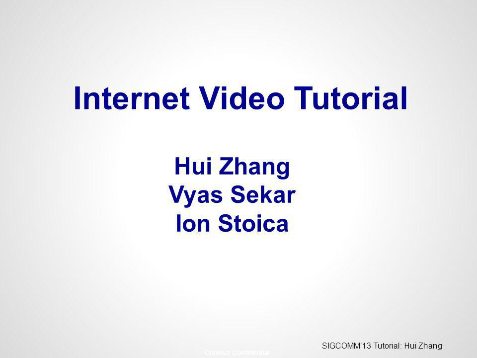 SIGCOMM13 Tutorial: Hui Zhang - Conviva Confidential - Hui Zhang Vyas Sekar Ion Stoica Internet Video Tutorial