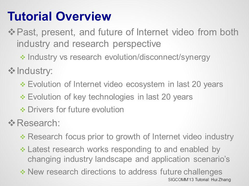SIGCOMM13 Tutorial: Hui Zhang The Video Internet: A World Full of Elephants Video (100x traffic growth) Other Applications (10 x traffic growth) 2011 What Does It Mean For the Internet If 95% Traffic is Video.