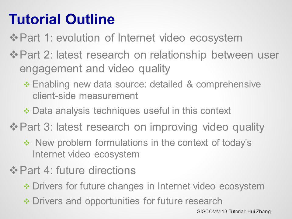 SIGCOMM13 Tutorial: Hui Zhang Tutorial Outline Part 1: evolution of Internet video ecosystem Part 2: latest research on relationship between user enga