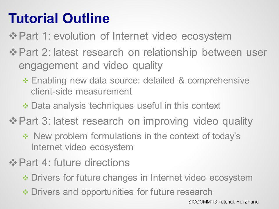 SIGCOMM13 Tutorial: Hui Zhang - Conviva Confidential - Part 1: Evolution of Internet Video Ecosystem