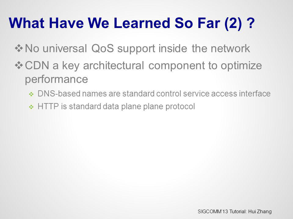 SIGCOMM13 Tutorial: Hui Zhang What Have We Learned So Far (2) ? No universal QoS support inside the network CDN a key architectural component to optim