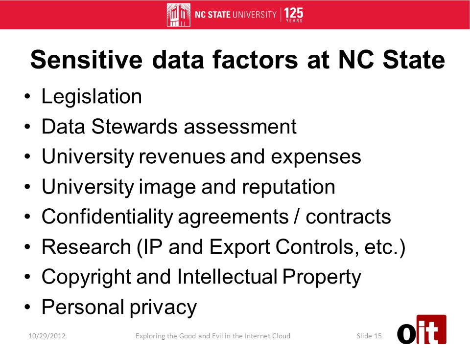 Sensitive data factors at NC State Legislation Data Stewards assessment University revenues and expenses University image and reputation Confidentiality agreements / contracts Research (IP and Export Controls, etc.) Copyright and Intellectual Property Personal privacy 10/29/2012Exploring the Good and Evil in the Internet CloudSlide 15