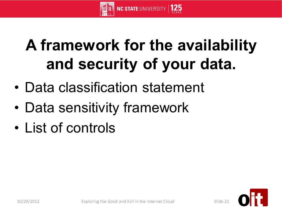 A framework for the availability and security of your data.