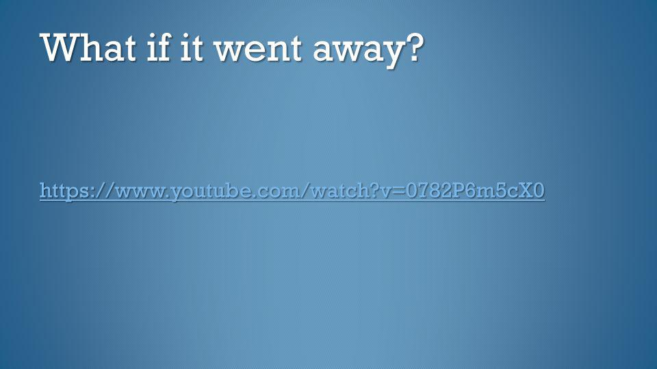 What if it went away? https://www.youtube.com/watch?v=0782P6m5cX0