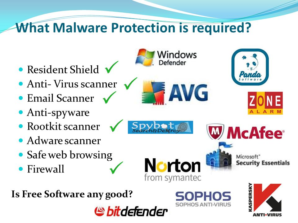 What Malware Protection is required? Is Free Software any good? Resident Shield Anti- Virus scanner Email Scanner Anti-spyware Rootkit scanner Adware