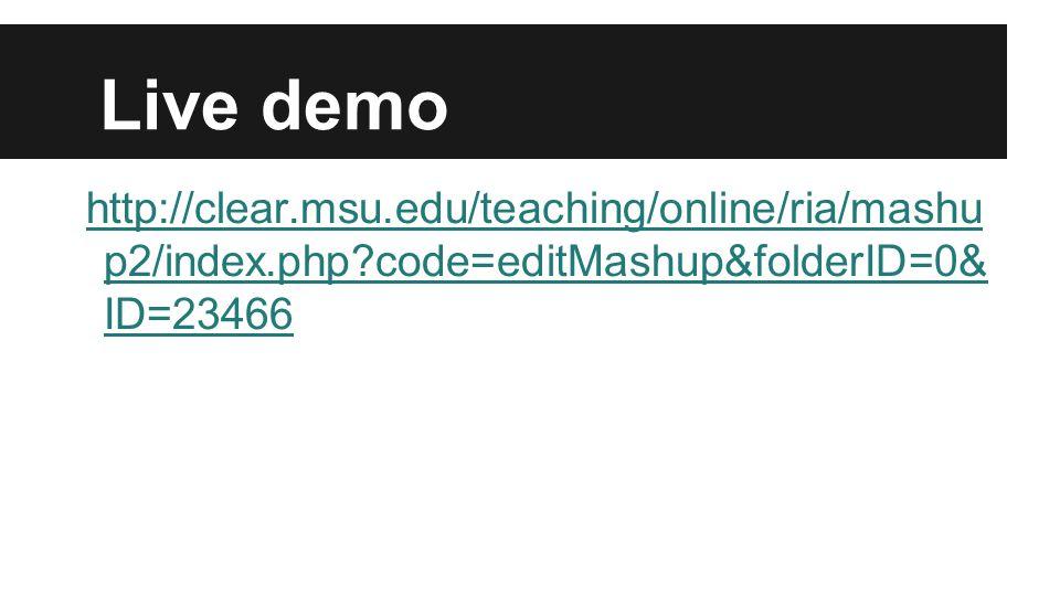 Live demo http://clear.msu.edu/teaching/online/ria/mashu p2/index.php?code=editMashup&folderID=0& ID=23466