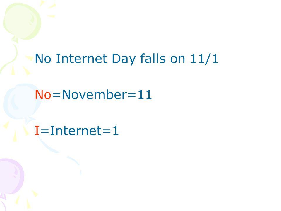 No Internet Day falls on 11/1 No=November=11 I=Internet=1