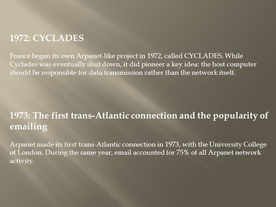 1972: CYCLADES France began its own Arpanet-like project in 1972, called CYCLADES.