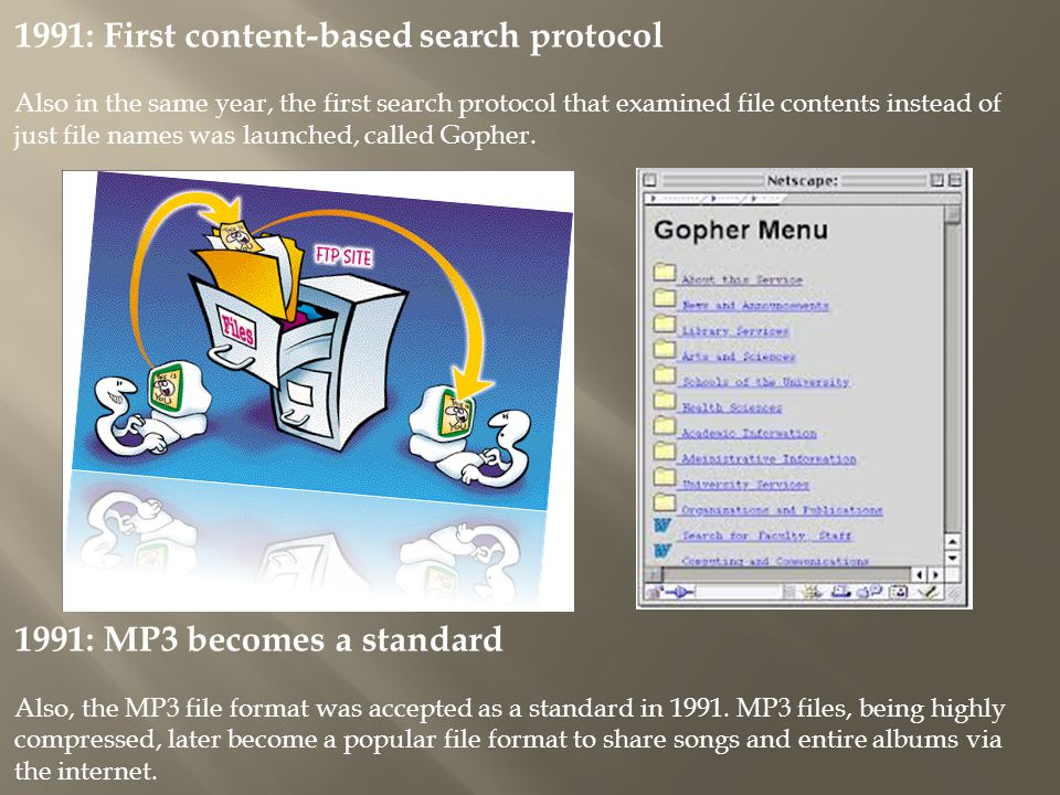 1991: First content-based search protocol Also in the same year, the first search protocol that examined file contents instead of just file names was launched, called Gopher.