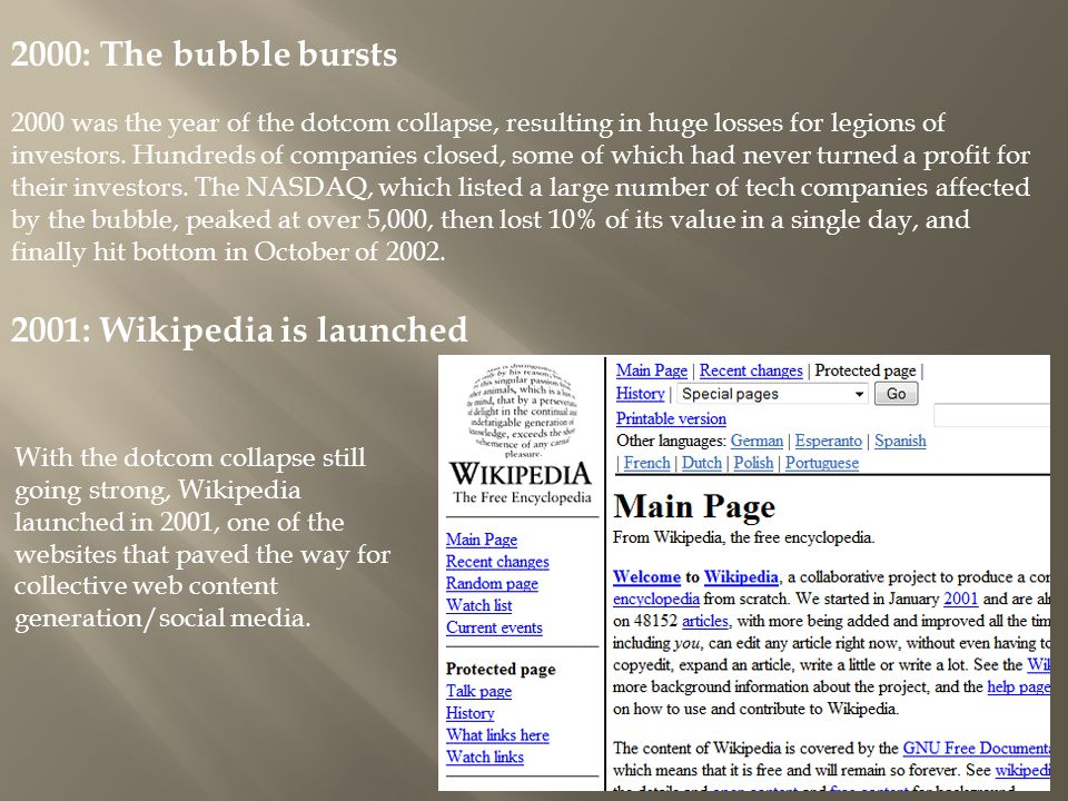 2000: The bubble bursts 2000 was the year of the dotcom collapse, resulting in huge losses for legions of investors.