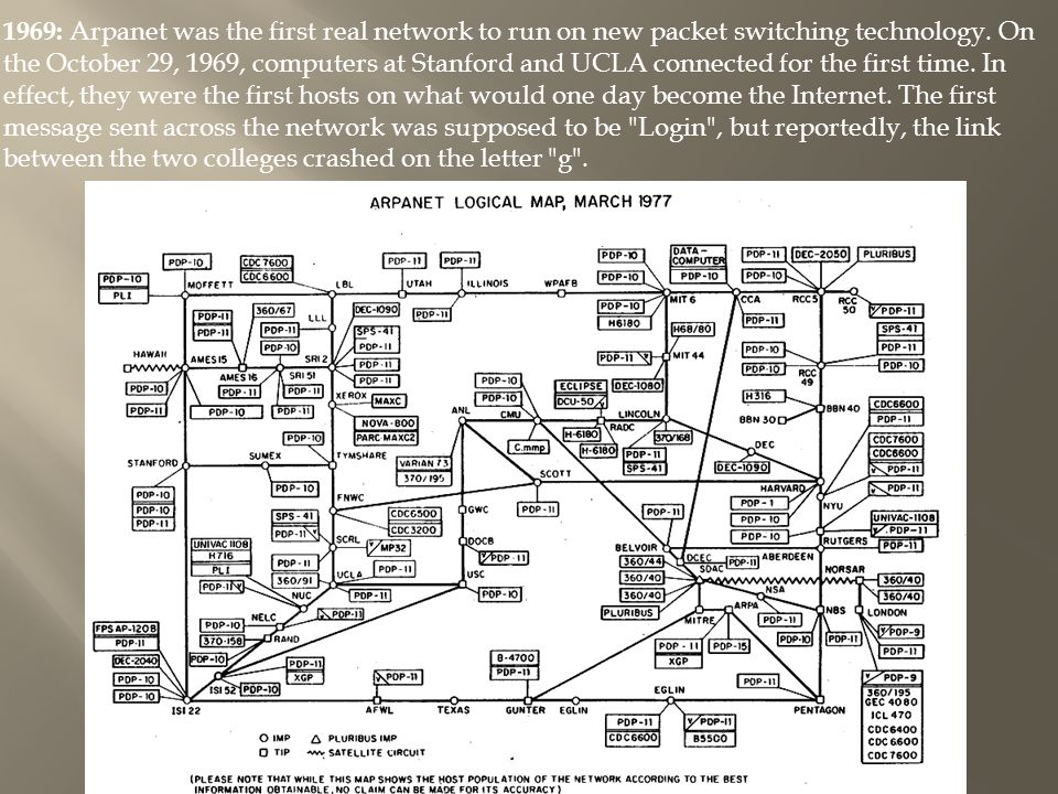 1969: Arpanet was the first real network to run on new packet switching technology.