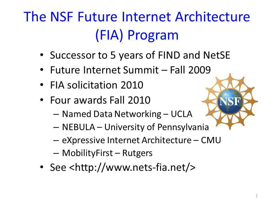 The NSF Future Internet Architecture (FIA) Program Successor to 5 years of FIND and NetSE Future Internet Summit – Fall 2009 FIA solicitation 2010 Fou