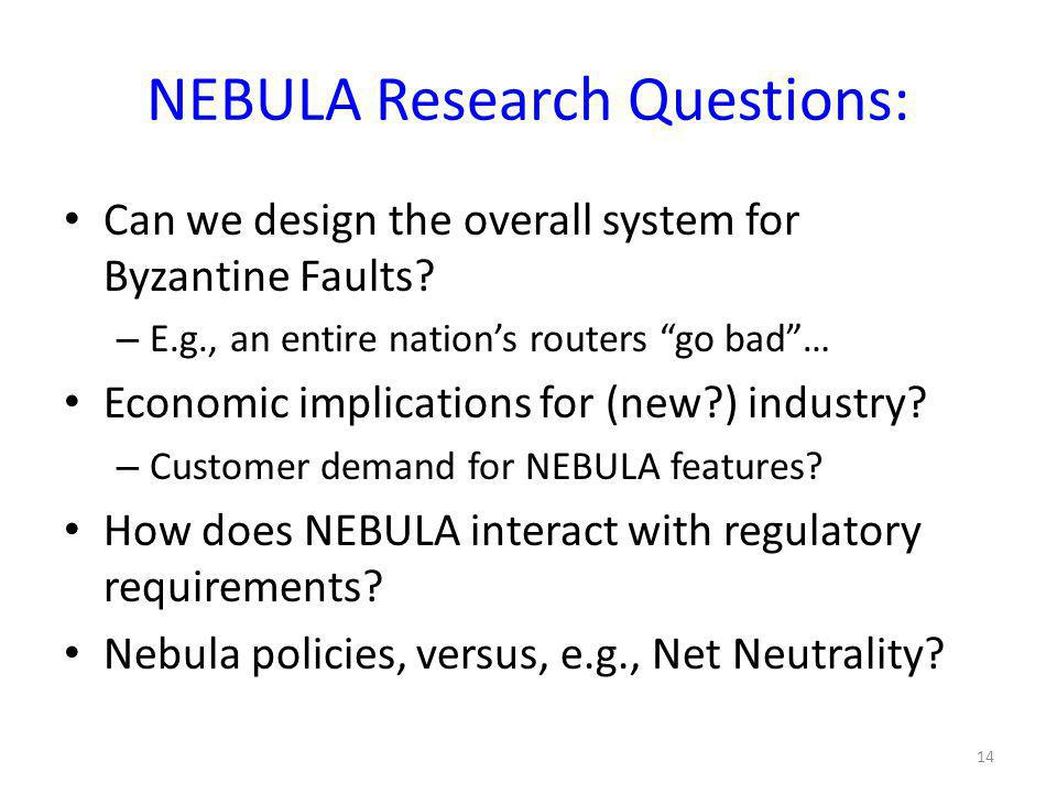 NEBULA Research Questions: Can we design the overall system for Byzantine Faults.