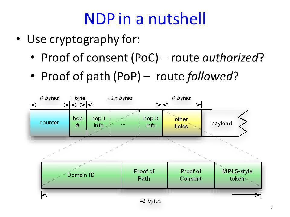 NDP in a nutshell Use cryptography for: Proof of consent (PoC) – route authorized? Proof of path (PoP) – route followed? 6