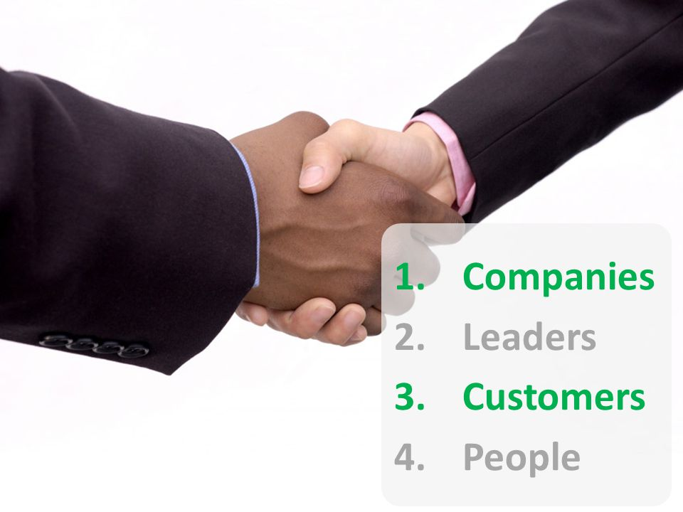 1.Companies 2.Leaders 3.Customers 4.People