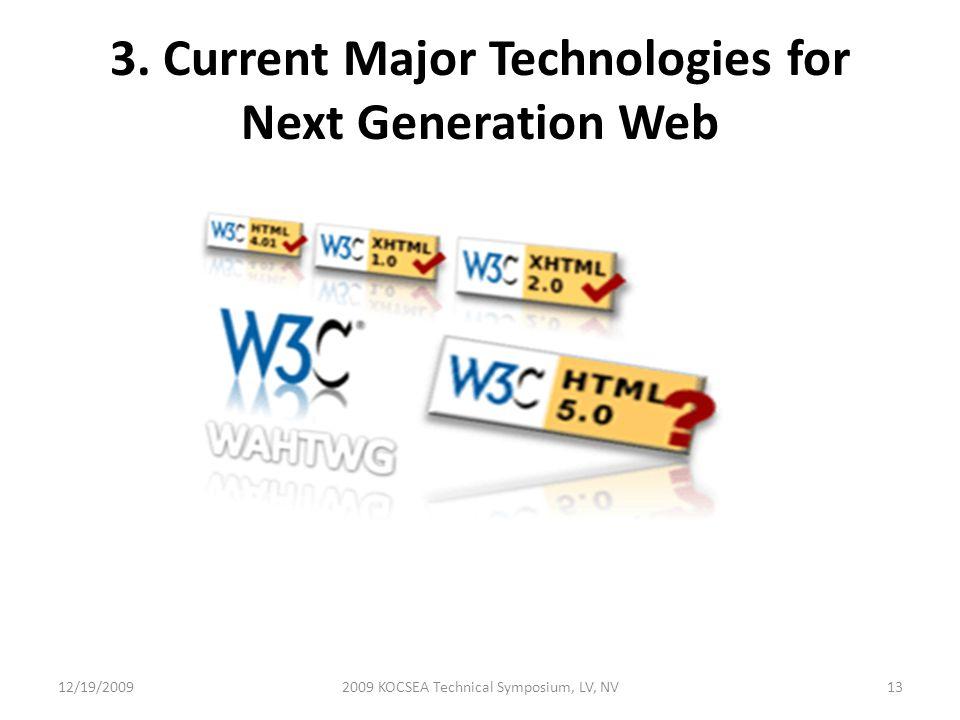 3. Current Major Technologies for Next Generation Web 12/19/20092009 KOCSEA Technical Symposium, LV, NV13