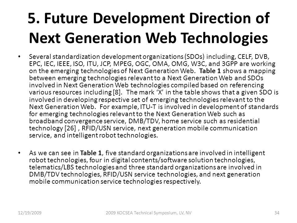 5. Future Development Direction of Next Generation Web Technologies Several standardization development organizations (SDOs) including, CELF, DVB, EPC