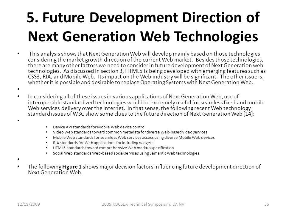 5. Future Development Direction of Next Generation Web Technologies This analysis shows that Next Generation Web will develop mainly based on those te