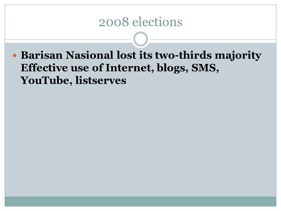 2008 elections Barisan Nasional lost its two-thirds majority Effective use of Internet, blogs, SMS, YouTube, listserves