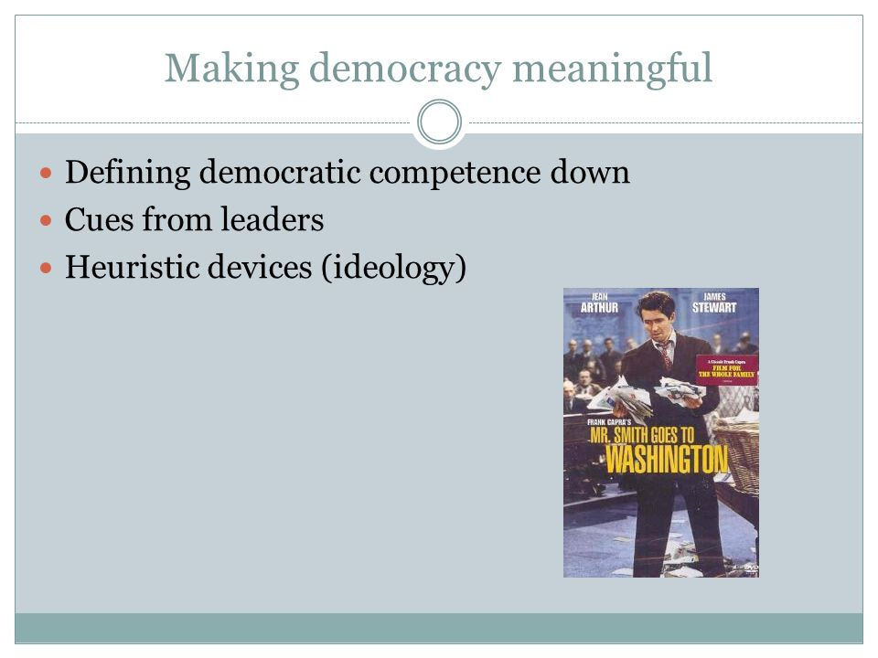 Making democracy meaningful Defining democratic competence down Cues from leaders Heuristic devices (ideology)