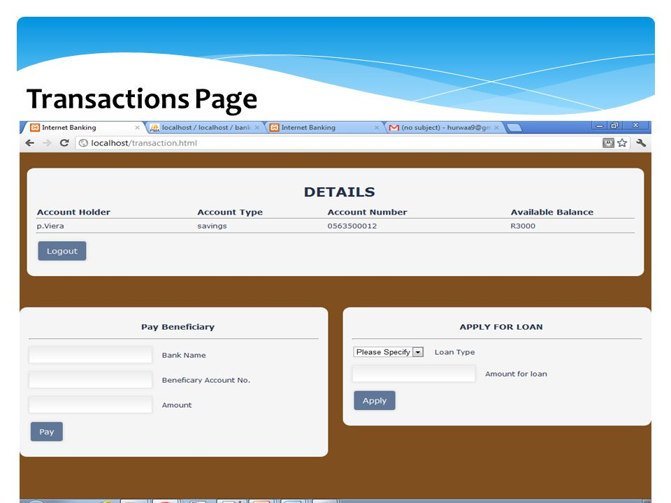 Transactions Page