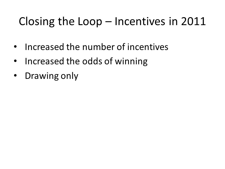 Closing the Loop – Incentives in 2011 Increased the number of incentives Increased the odds of winning Drawing only