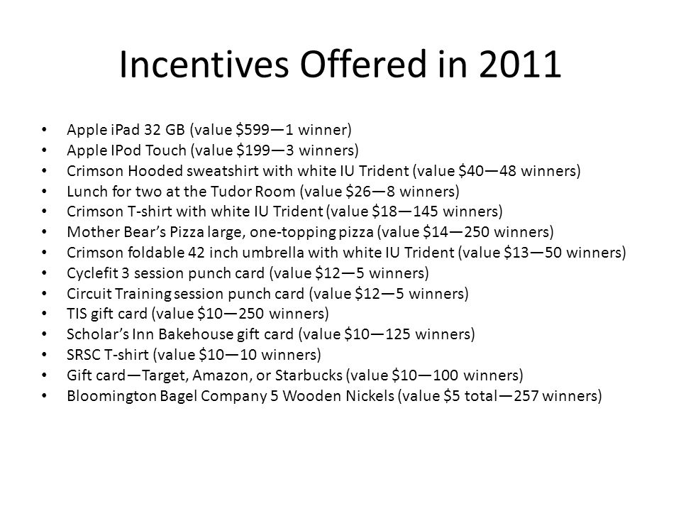Incentives Offered in 2011 Apple iPad 32 GB (value $5991 winner) Apple IPod Touch (value $1993 winners) Crimson Hooded sweatshirt with white IU Trident (value $4048 winners) Lunch for two at the Tudor Room (value $268 winners) Crimson T-shirt with white IU Trident (value $18145 winners) Mother Bears Pizza large, one-topping pizza (value $14250 winners) Crimson foldable 42 inch umbrella with white IU Trident (value $1350 winners) Cyclefit 3 session punch card (value $125 winners) Circuit Training session punch card (value $125 winners) TIS gift card (value $10250 winners) Scholars Inn Bakehouse gift card (value $10125 winners) SRSC T-shirt (value $1010 winners) Gift cardTarget, Amazon, or Starbucks (value $10100 winners) Bloomington Bagel Company 5 Wooden Nickels (value $5 total257 winners)