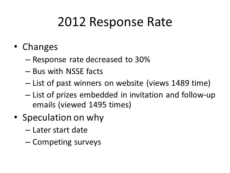 2012 Response Rate Changes – Response rate decreased to 30% – Bus with NSSE facts – List of past winners on website (views 1489 time) – List of prizes embedded in invitation and follow-up emails (viewed 1495 times) Speculation on why – Later start date – Competing surveys
