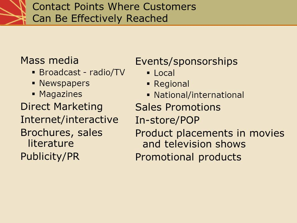 Contact Points Where Customers Can Be Effectively Reached Mass media Broadcast - radio/TV Newspapers Magazines Direct Marketing Internet/interactive B