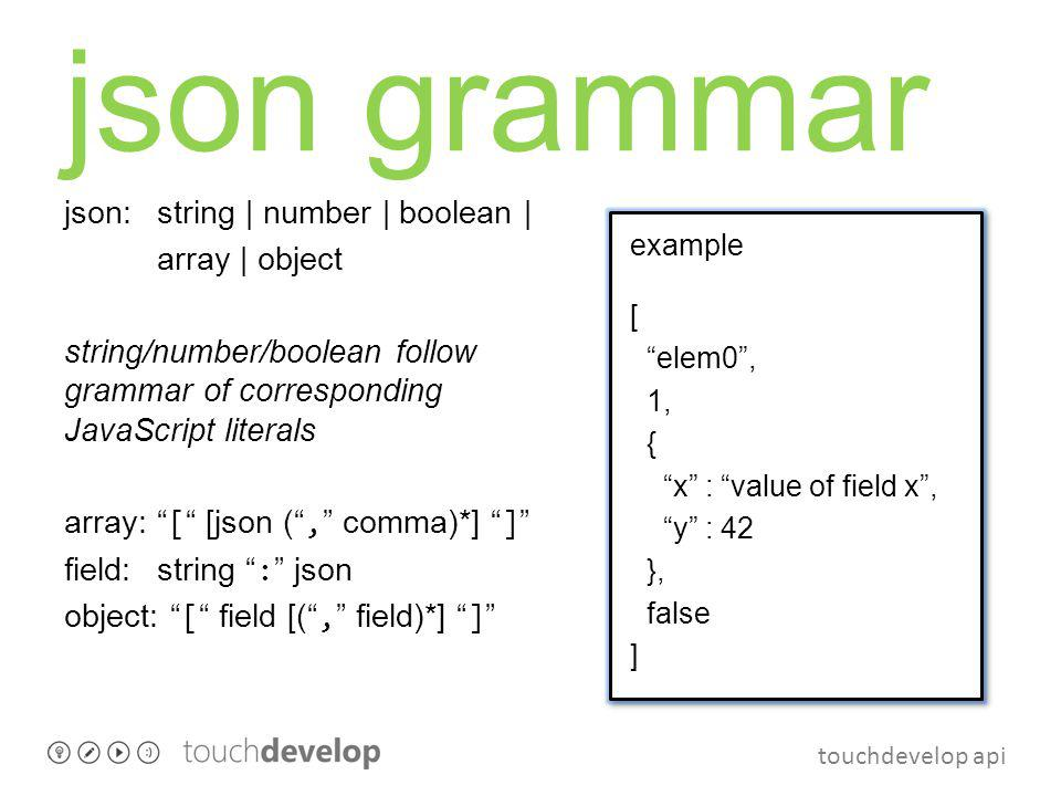 touchdevelop api json grammar json:string | number | boolean | array | object string/number/boolean follow grammar of corresponding JavaScript literal