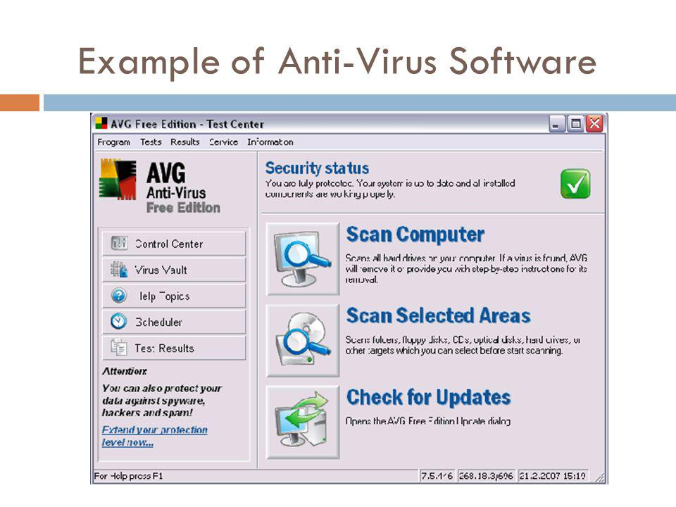 Example of Anti-Virus Software