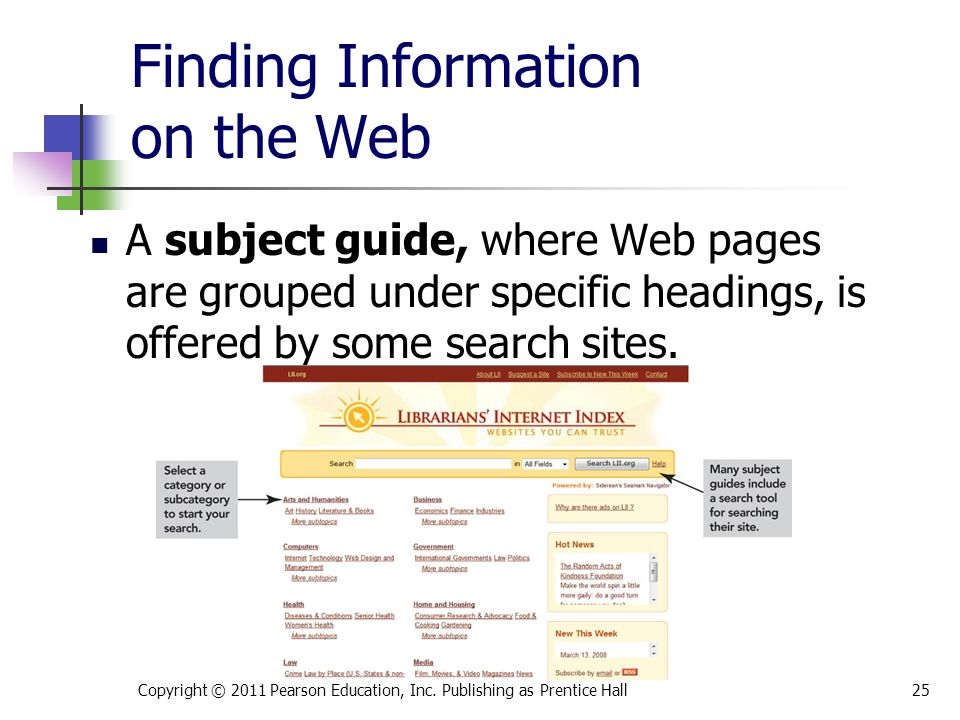 Finding Information on the Web Copyright © 2011 Pearson Education, Inc. Publishing as Prentice Hall25 A subject guide, where Web pages are grouped und