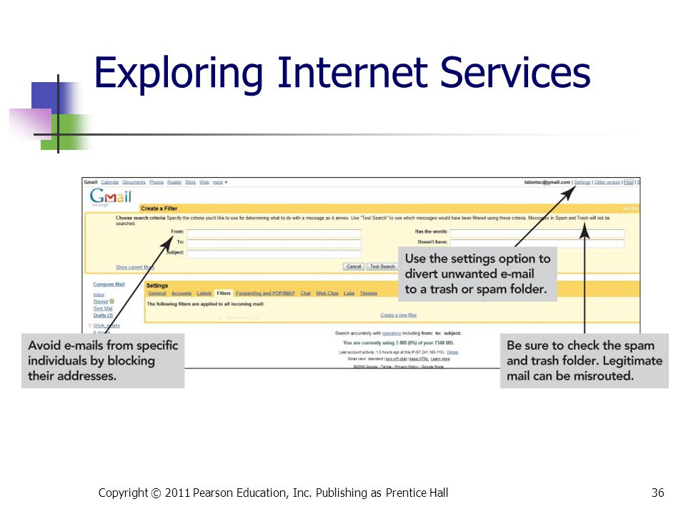 Exploring Internet Services Copyright © 2011 Pearson Education, Inc. Publishing as Prentice Hall36
