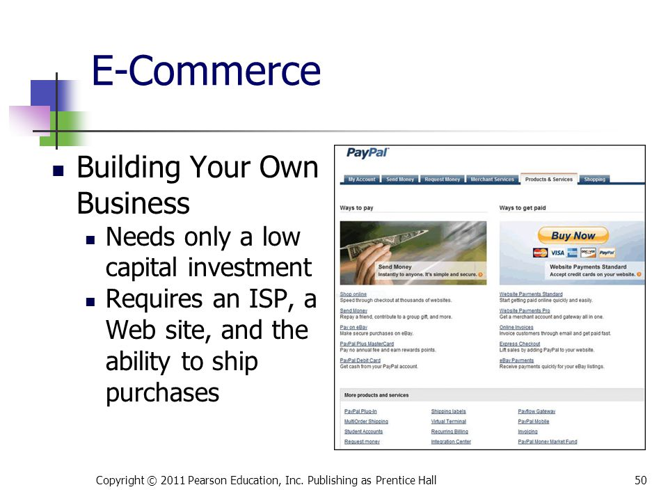 E-Commerce Building Your Own Business Needs only a low capital investment Requires an ISP, a Web site, and the ability to ship purchases Copyright © 2