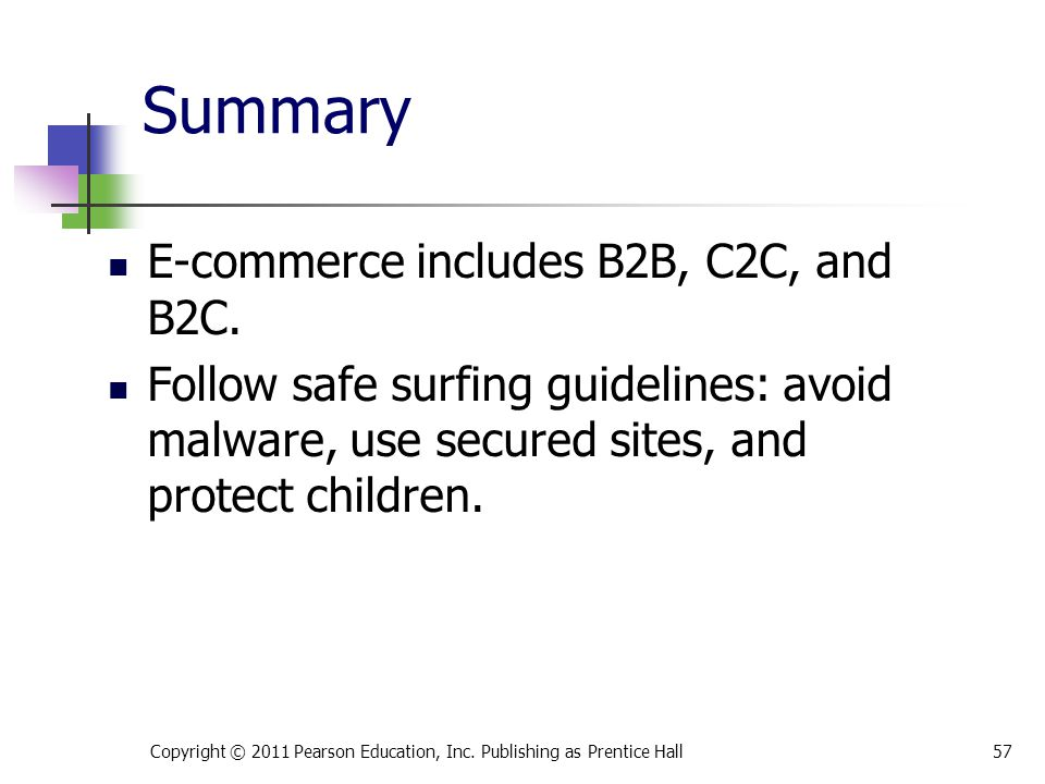 Summary E-commerce includes B2B, C2C, and B2C. Follow safe surfing guidelines: avoid malware, use secured sites, and protect children. 57Copyright © 2