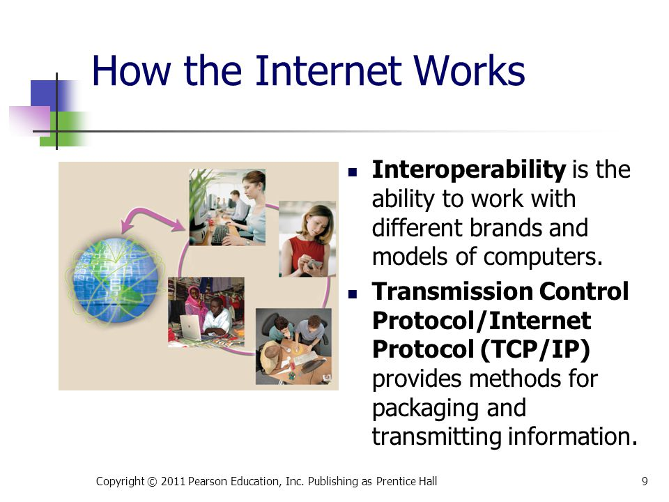 How the Internet Works Copyright © 2011 Pearson Education, Inc. Publishing as Prentice Hall9 Interoperability is the ability to work with different br