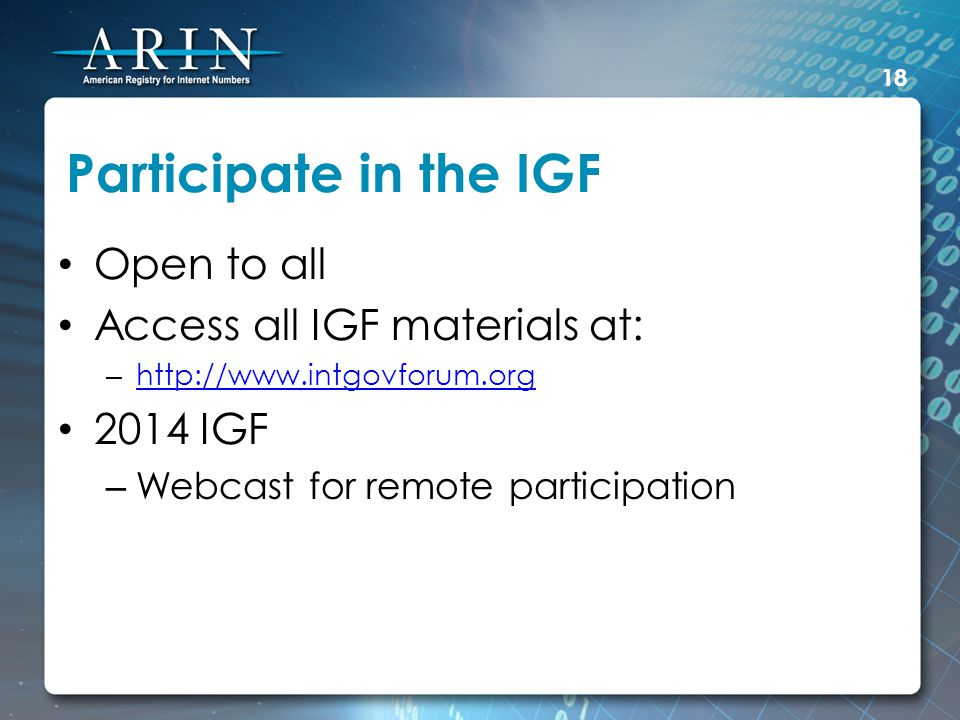 Participate in the IGF Open to all Access all IGF materials at: – http://www.intgovforum.org http://www.intgovforum.org 2014 IGF – Webcast for remote participation 18