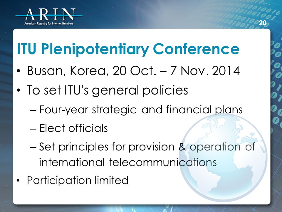 ITU Plenipotentiary Conference Busan, Korea, 20 Oct.