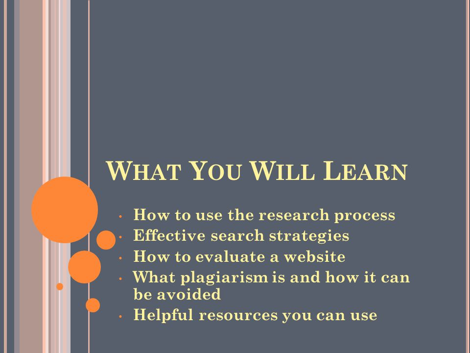 W HAT Y OU W ILL L EARN How to use the research process Effective search strategies How to evaluate a website What plagiarism is and how it can be avo