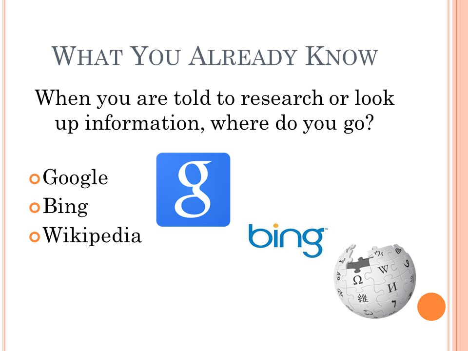 W HAT Y OU A LREADY K NOW When you are told to research or look up information, where do you go? Google Bing Wikipedia