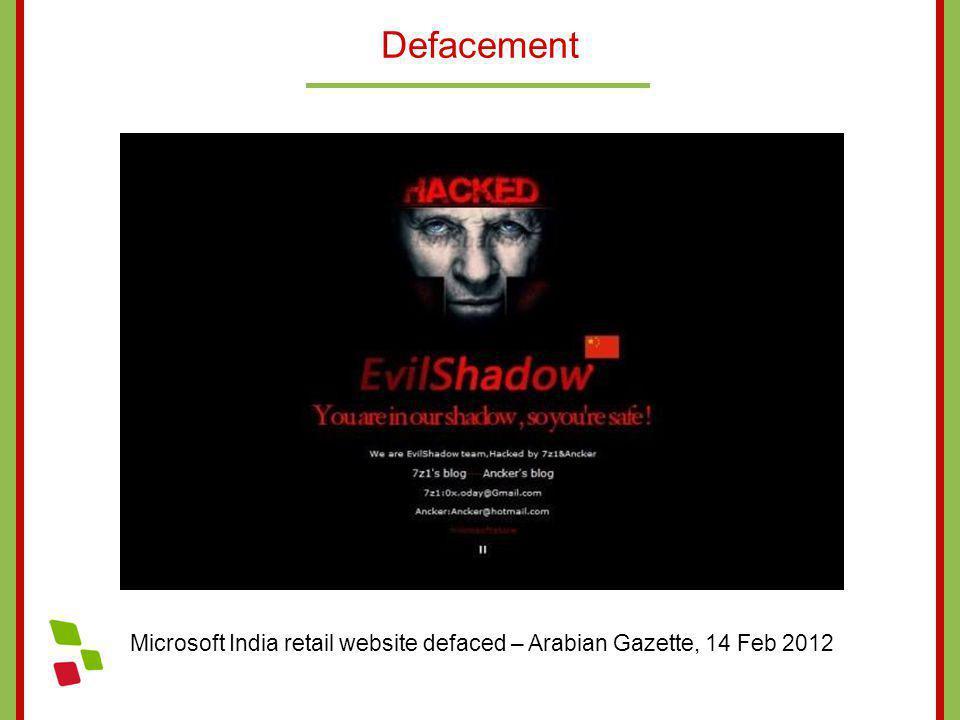 Defacement Microsoft India retail website defaced – Arabian Gazette, 14 Feb 2012