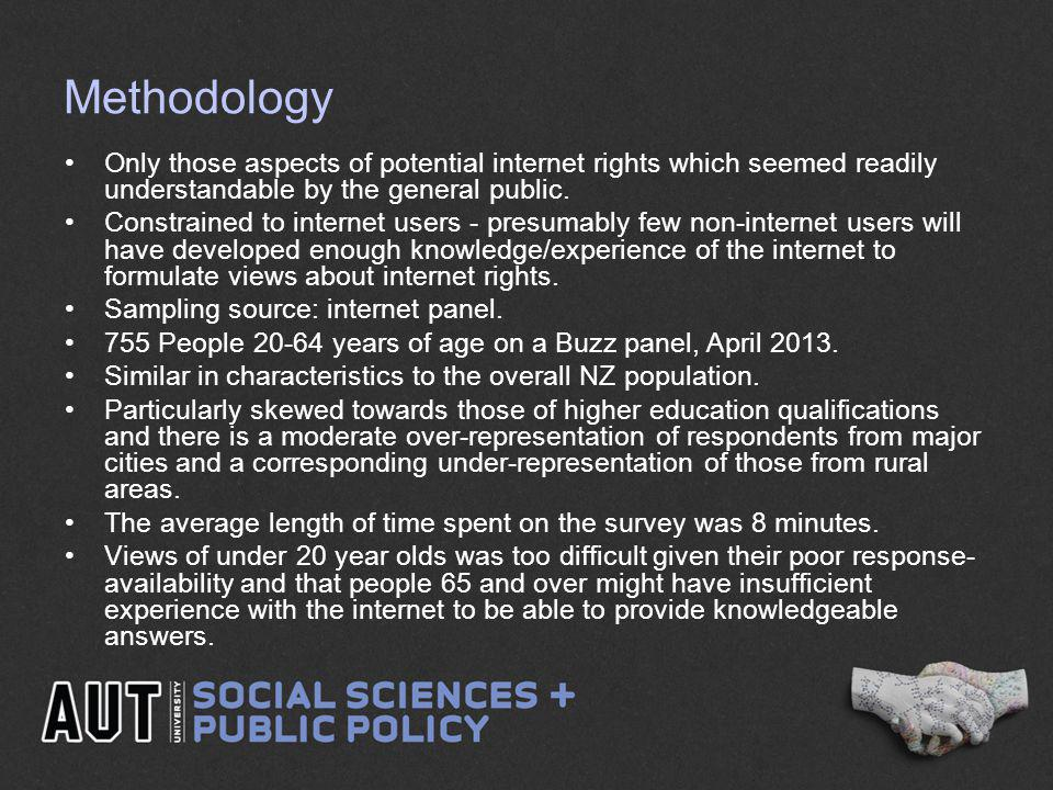 Methodology Only those aspects of potential internet rights which seemed readily understandable by the general public.