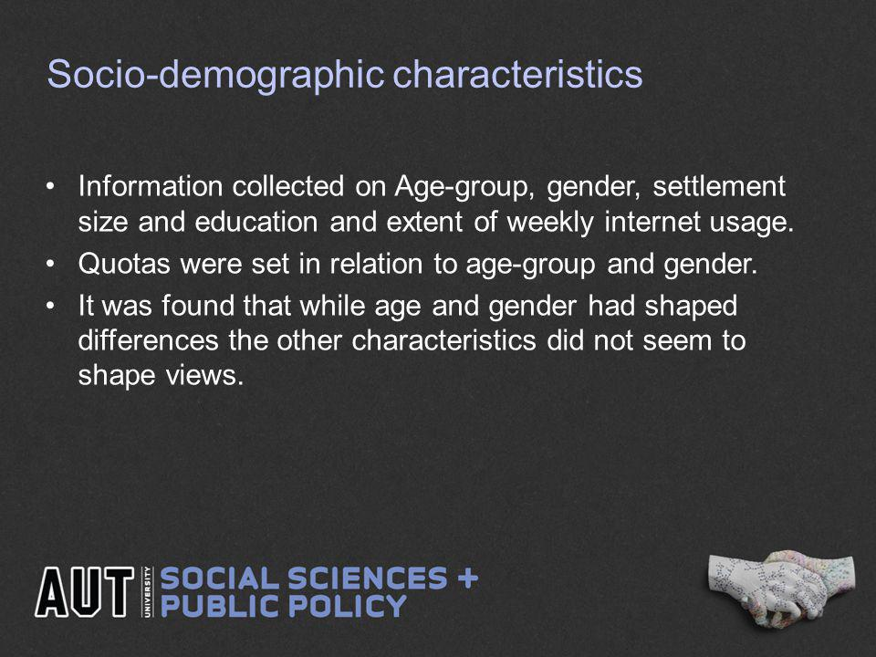 Socio-demographic characteristics Information collected on Age-group, gender, settlement size and education and extent of weekly internet usage.