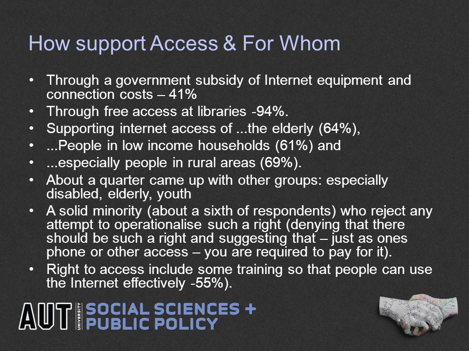How support Access & For Whom Through a government subsidy of Internet equipment and connection costs – 41% Through free access at libraries -94%. Sup