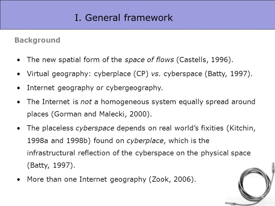 I. General framework The new spatial form of the space of flows (Castells, 1996). Virtual geography: cyberplace (CP) vs. cyberspace (Batty, 1997). Int